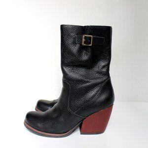 Kork Ease Leather Block Heel Boots Worn Twice